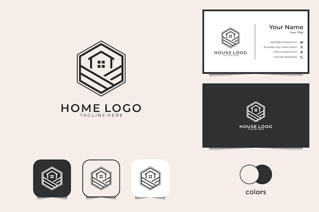 Haus mit sechseck-linienkunst-logo-design und visitenkarte