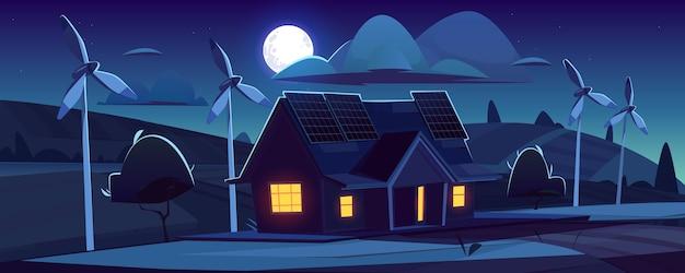 Haus mit sonnenkollektoren auf dach und windkraftanlagen in der nacht. umweltfreundliche stromerzeugung, grünes energiekonzept. karikaturlandschaft mit modernem häuschen, windmühlen und mond im himmel