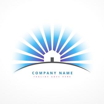 Haus mit sonnenstrahlen logo