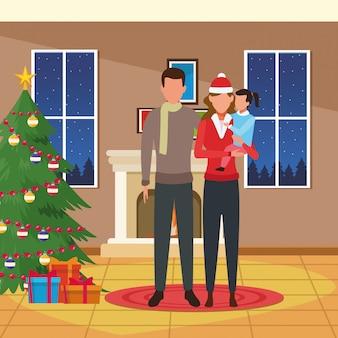 Haus mit weihnachtsdekoration und glücklicher familie