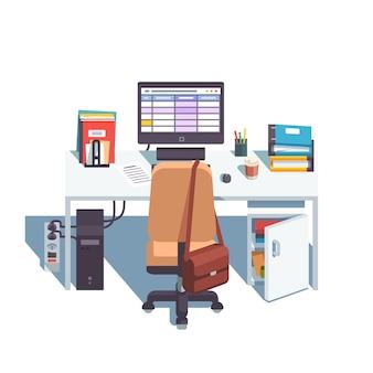 Haus oder büro schreibtisch mit rollen stuhl, computer