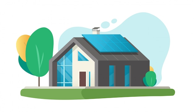 Haus oder haus öko moderne zukunft oder zeitgenössische luxusvilla wohnhaus mit smart solarpanel energietechnologie cartoon illustration