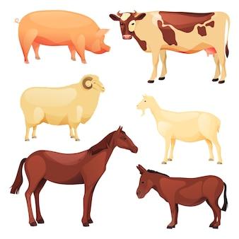 Haus- oder nutztiere eingestellt. vektor-cartoon-icons von widder, ziege, kuh, pferd, esel und schwein.