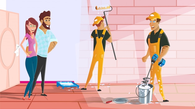 Haus- oder wohnungs-malereiservice-karikatur