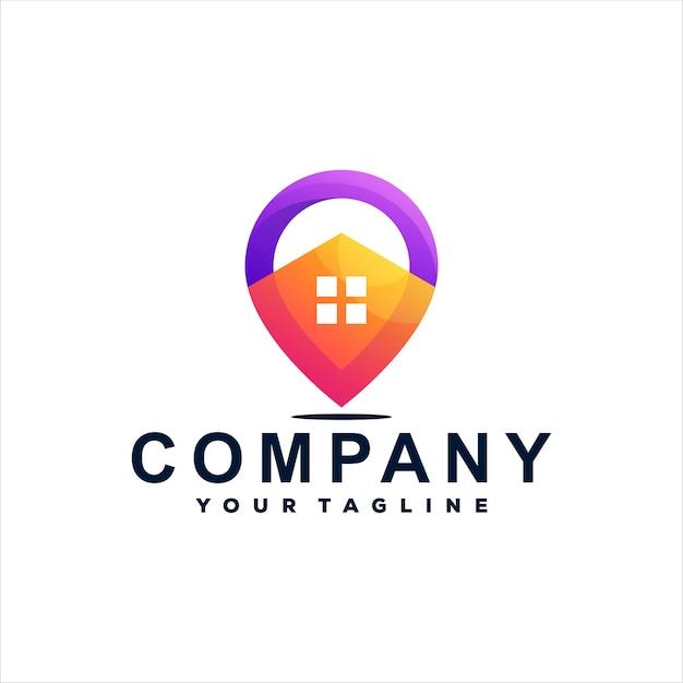 Haus pin farbverlauf logo design