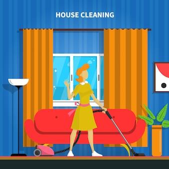 Haus-reinigungs-hintergrund-illustration