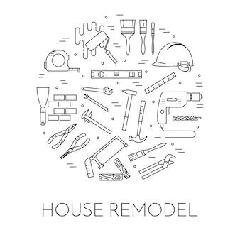 Haus umgestalten horizontale banner. element für hausreparatur, gebäude- oder renovierungsunternehmen.