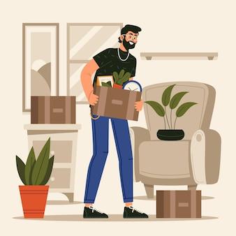 Haus umzug konzept mann tragen box