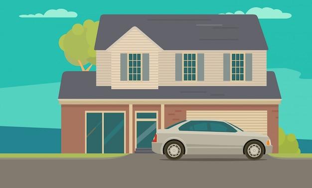 Haus und auto in der nähe von garage. flache abbildung