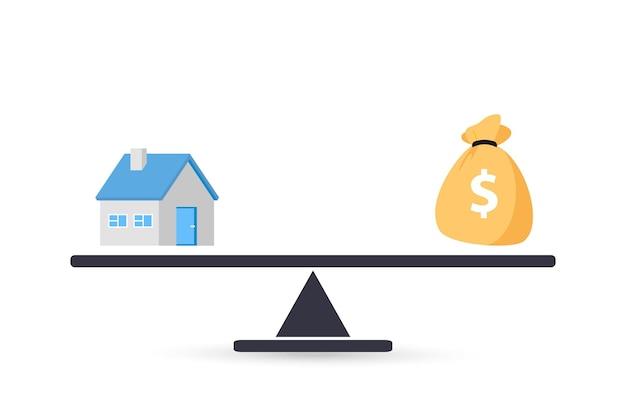 Haus und geld im maßstab. geld und heimat. kauf eines hauses. verkaufs- und kaufkonzept. deal verkauf und kauf