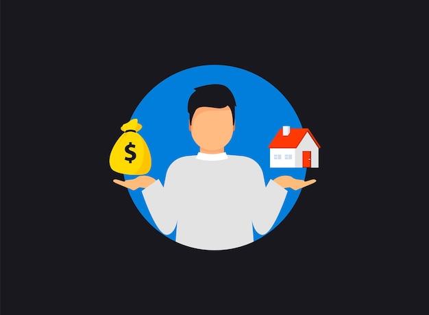 Haus und geld zur hand. geld und heimat. kauf eines hauses. verkaufs- und kaufkonzept. deal verkauf und kauf