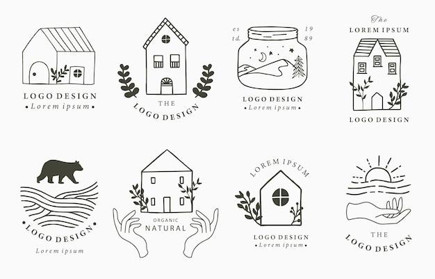 Haus- und hauslogosammlung mit wildem, natürlichem, tier, blume, kreis. illustration für ikone, logo, tätowierung, zubehör und innenraum
