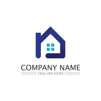 Haus- und immobilien- und wohngebäudevektorlogoikonenschablone