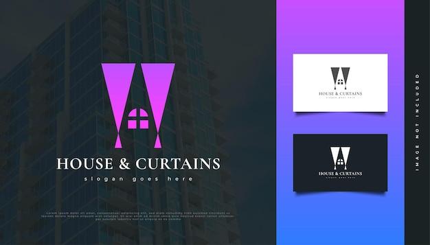 Haus- und vorhänge-logo-design für die identität der immobilienbranche. bau-, architektur- oder gebäudelogo-design