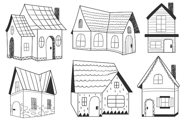 Haus-vektor-illustration. sammlung von häusern. vektorhaus und gebäude