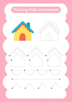 Haus - verfolgen sie das arbeitsblatt zum schreiben und zeichnen von linien für kinder