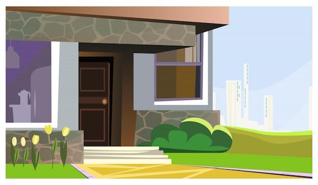 Haus verziert mit blumen- und buschillustration