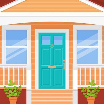 Haus vor der tür. veranda mit türkisfarbener tür und fenstern. . hausfassade außen. gebäudeeingang, haustür mit treppe. moderne außenarchitektur in wohnung. cartoon-abbildung.