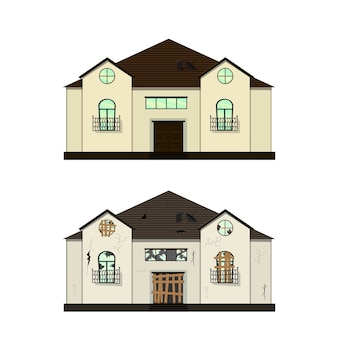 Haus vor und nach der reparatur