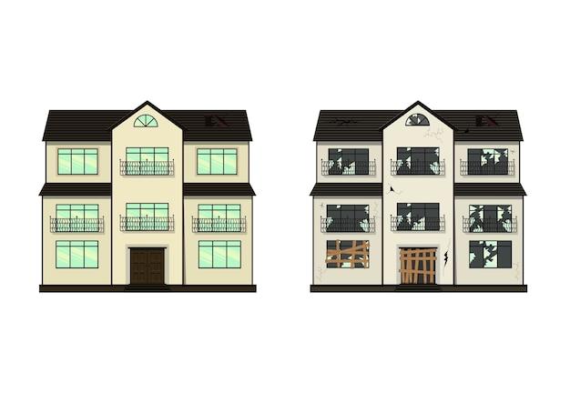Haus vor und nach reparatur illustration