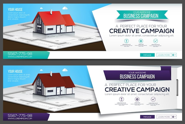 Haus web banner, header layout vorlage. kreatives cover. web-banner.