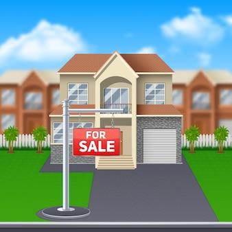 Haus zu verkaufen mit rasen und garage und großen fenstern cartoon