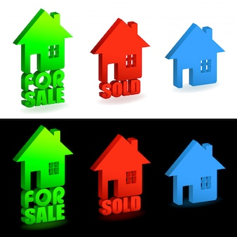 Haus zu verkaufen und verkauft zeichen