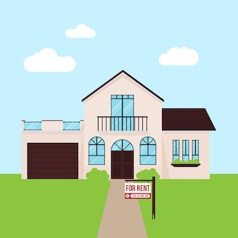 Haus zu vermieten mit schild