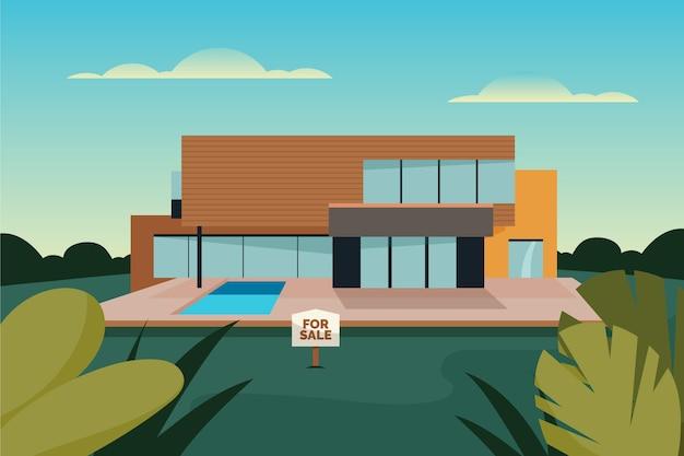 Haus zum verkauf architektur mit zeichen