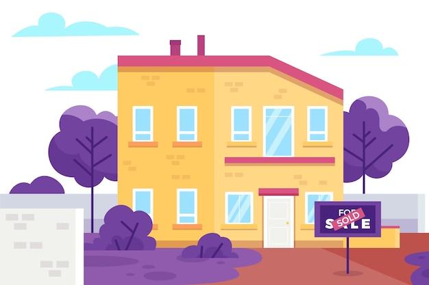 Haus zum verkauf illustration Kostenlosen Vektoren