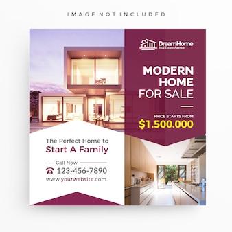 Haus zum verkauf / immobilien-banner-vorlage für die förderung