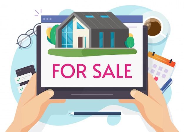 Haus zum verkauf oder neue hauptwohnung, die online auf digitalem computer flache karikaturillustration verkauft