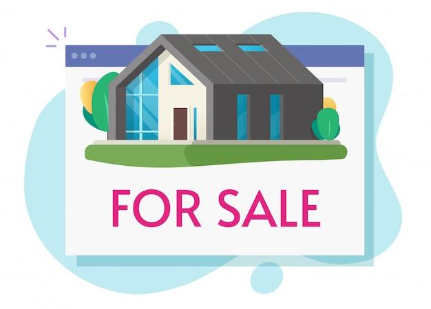 Haus zum verkauf oder neues zuhause wohnung digitaler verkauf online im internet web flache cartoon-illustration