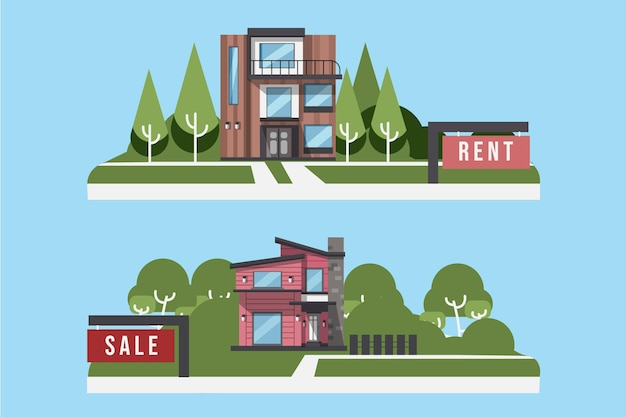 Haus zum verkauf und zur miete illustrationen gesetzt