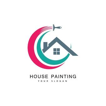 Hausanstrichservice, dekor und reparatur mehrfarbiges symbol. vektorlogo, etikett, emblemdesign. konzept für heimtextilien, gebäude, hausbau und färbung.