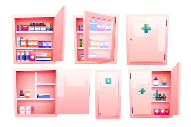 Hausapothekeschrank mit apothekenmedikamenten und pillen