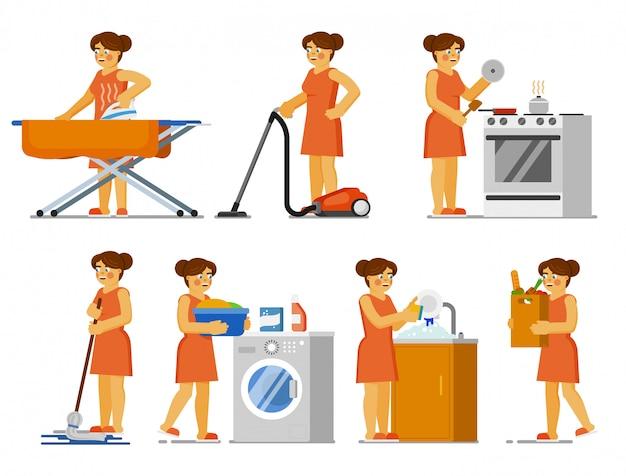Hausarbeit eingestellt. hausfrau macht hausarbeit zu hause. isolierte frau, die kleidung bügelt, boden mit mopp putzt, saugt, kocht, wäsche wäscht, geschirr. hauswirtschaft, hausarbeit, hausarbeit