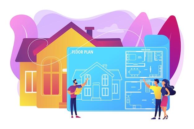 Hausarchitekturplan mit möbeln. innenarchitektur. immobiliengrundriss, grundrissleistungen, immobilienmarketingkonzept. helle lebendige violette isolierte illustration