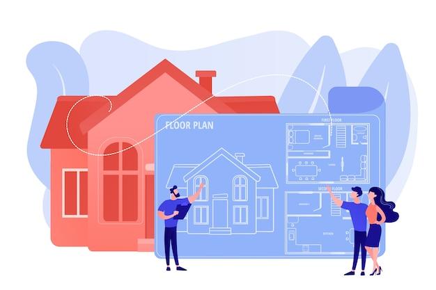 Hausarchitekturplan mit möbeln. innenarchitektur. immobiliengrundriss, grundrissleistungen, immobilienmarketingkonzept. isolierte illustration des rosa korallenblauvektors