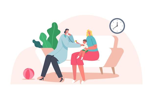 Hausarzt kinderarzt checkup baby, neonatologe weibliche figur mit stethoskop untersuchen krankes kind zu hause auf den knien der mutter sitzen, termin beim hno-arzt. cartoon-menschen-vektor-illustration