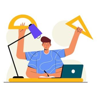 Hausaufgaben-flache illustration machen