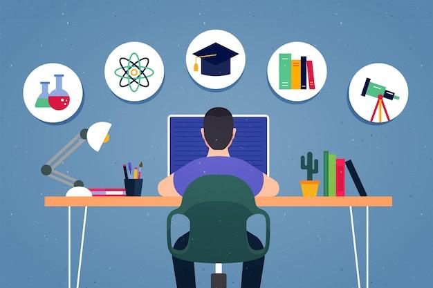 Hausaufgaben schule icons illustration