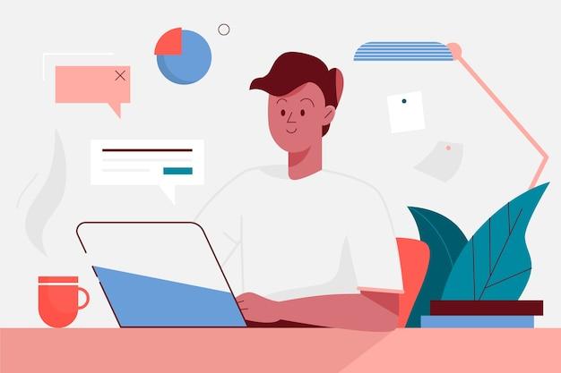 Hausaufgabenkonzept mit digitalen geräten und anlagen