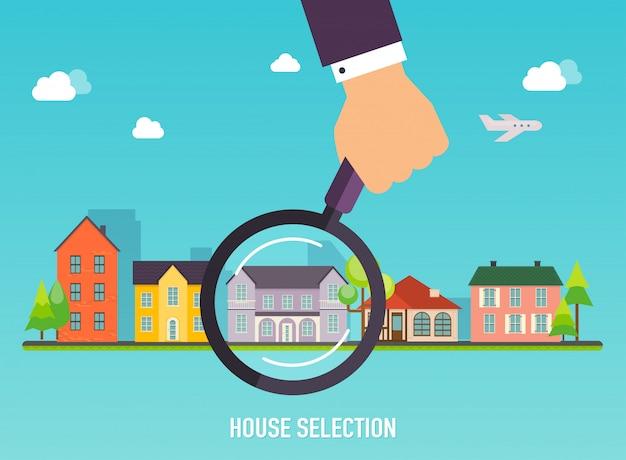 Hausauswahl. lupe mit haus. konzept für webbanner, websites, infografiken.