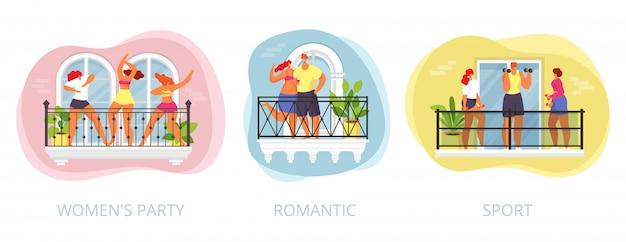 Hausbalkon mit leuten zu hause, dlat frau mann an der quarantänewohnung, illustration. person im stadtgebäude haben party, sport und romantisches set. zeichen im fenster.