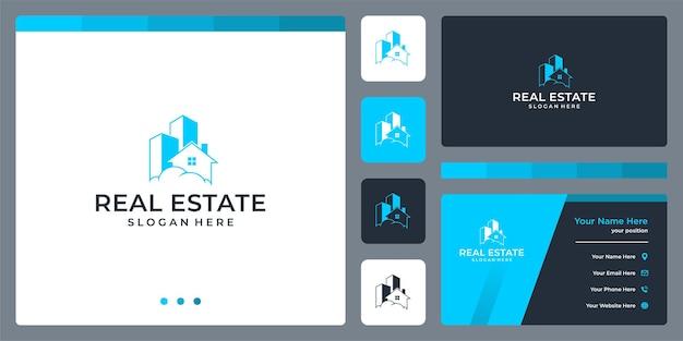 Hausbau-logo-design und wolken. visitenkarten-vorlagendesign.