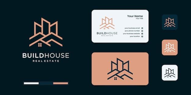 Hausbau-logo mit einzigartigen logo-design-vorlagen im linienkunststil