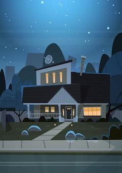 Hausbau-nachtansicht-vorort der großstadt