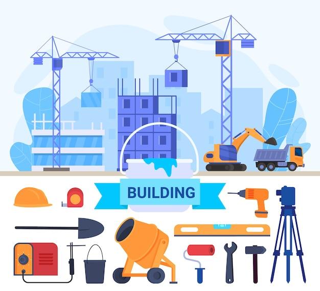 Hausbau, reparaturwerkzeuge flache vektorillustration. karikatur, die hausbau, arbeitende krantechnische ausrüstungen baut
