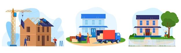 Hausbau-vektorillustrationssatz. professionelle baumeisterfiguren der karikaturwohnung, die am bau von hauswänden und dachkonstruktion arbeiten, lkw-möbellieferung im stadthaus lokalisiert auf weiß